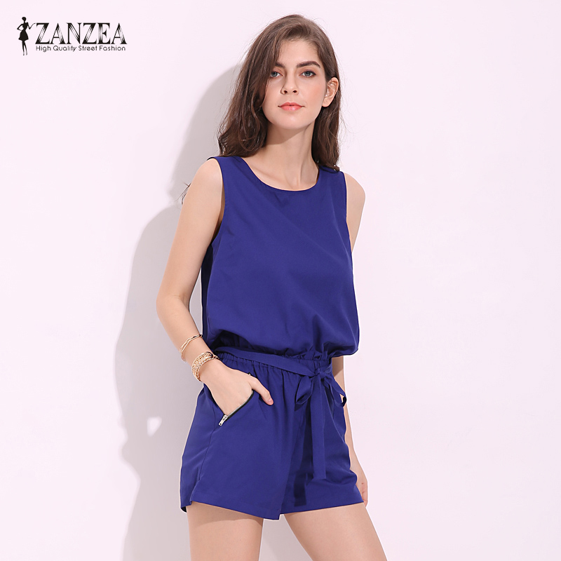 2018 ZANZEA Womens O Neck Sleeveless Backless Casual Summer Short Romper Pants Solid Drawstring Jumpsuit Playsuits Plus Size