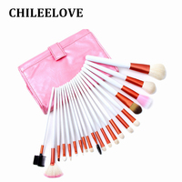 CHILEELOVE 20 Pcs Set Goat Hair White Handle Makeup Brushes Kit With Pink Make Up Portable
