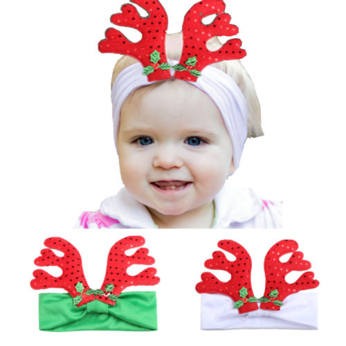 Hot Cute Kids Baby Hair Bow Deer Horn Headband Girl Toddler Lace Crown Hair Band Headwear Christmas Gift Newborn Floral Headband