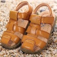 2017 Nieuwe Collectie Baby Jongens Sandalen Geniune Lederen Strand Sandalen voor Kinderen Jongens Bruin Wit Zwart Geel Kleur Kinderschoenen