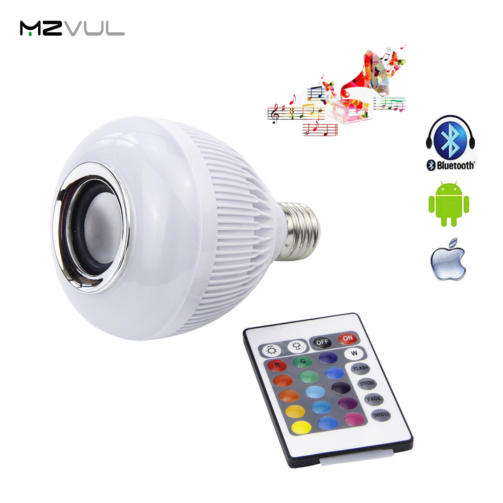 Wireless Bluetooth Control Bulb LED Music Audio 6W E27 Speaker 12W Power RGBW Music Playing Light Lamp 24 Keys IR Remote Control