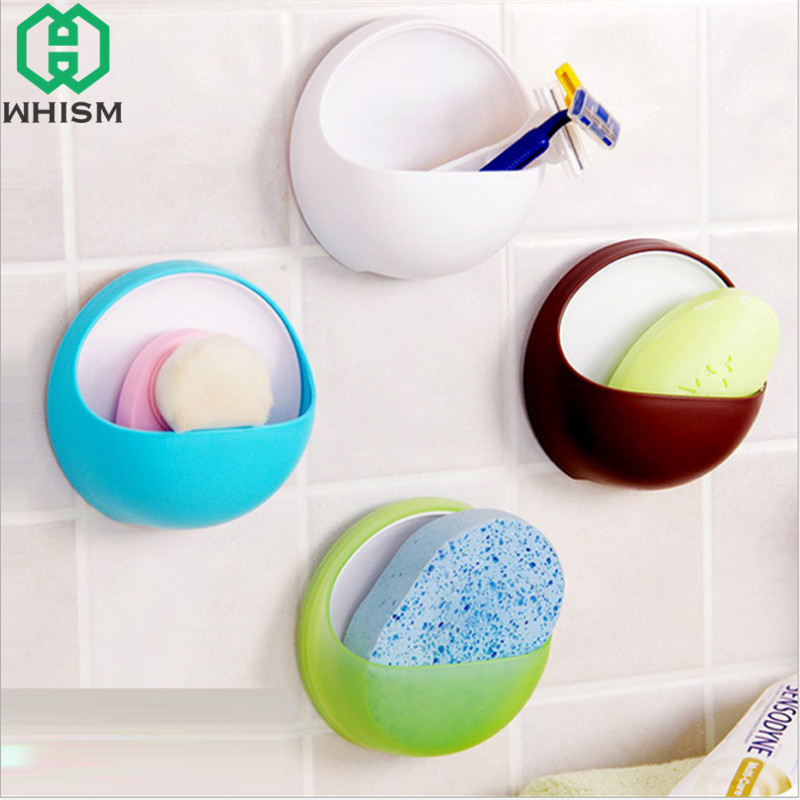 WHISM Plastic Storage Holders Rack Wall Shelf Sponge Holder Suction Cup Soap Holder Wall Mounted Kitchen Rack Bathroom Organizer