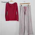 Sleepwear Pants For Women Pajama Set Knitting Cotton Woven Long Sleeve Sleep Trousers Womens Pyjamas Tracksuit Suit