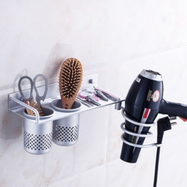 Space Aluminum Shelf Storage Organizer Hairdryer Holder Spiral Stand  Multi Function Bathroom Wall Mounted Hair
