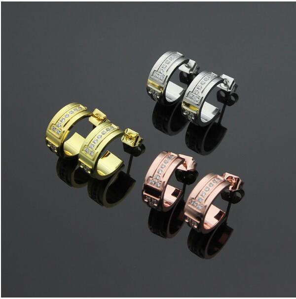 Top Quality Jewelry Earrings Rose Gold Titanium Steel Carter C shape Earrings for Women Girls Crystal Oorbellen boucle doreille