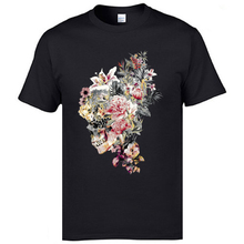 Flower Skull Printed Black Tshirts Mexico Fashion T-Shirts Day Of The Dead New Style Fitness For Men Retro