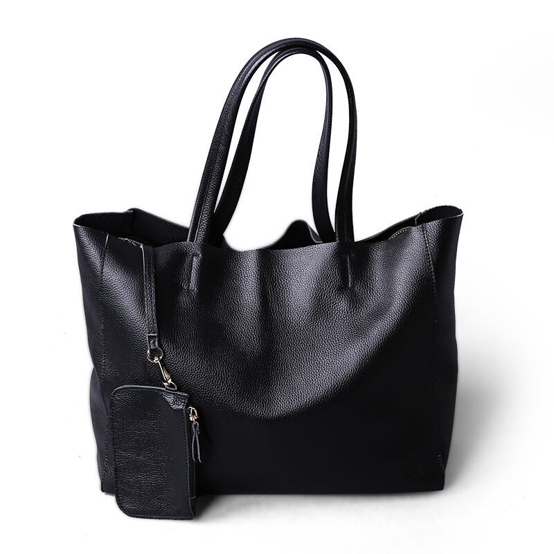 2019 New Women Deluxe Genuine Cowhide Leather Totes Handbag Lady Simple Soft Satchels Bag High Capacity Waterproof Shopping Bags