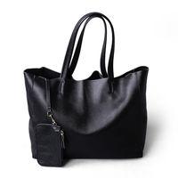 2019 New Women Deluxe Genuine Cowhide Leather Totes Handbag Lady Simple Soft Satchels Bag High Capacity Waterproof Shopping Bags