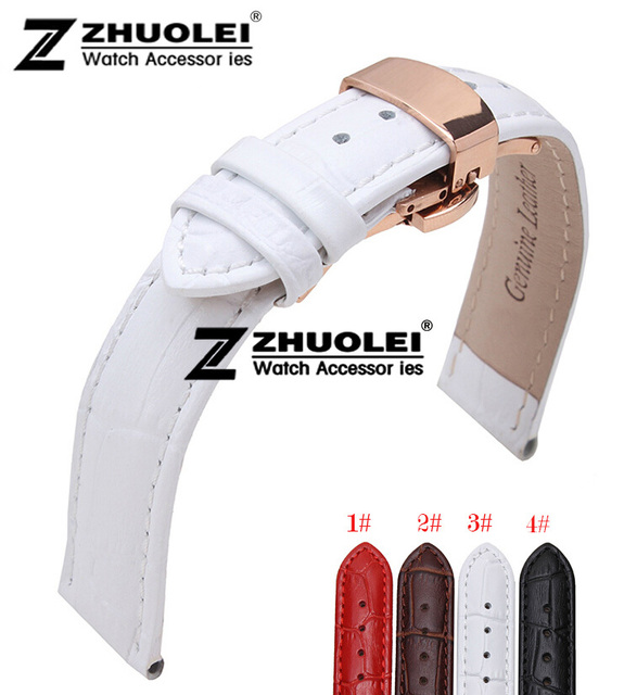 16mm 18mm 20mm 22mm Top Grade Polished Rose Gold Butterfly Deployment Clasp White Genuine Leather Watchband Strap Bracelets