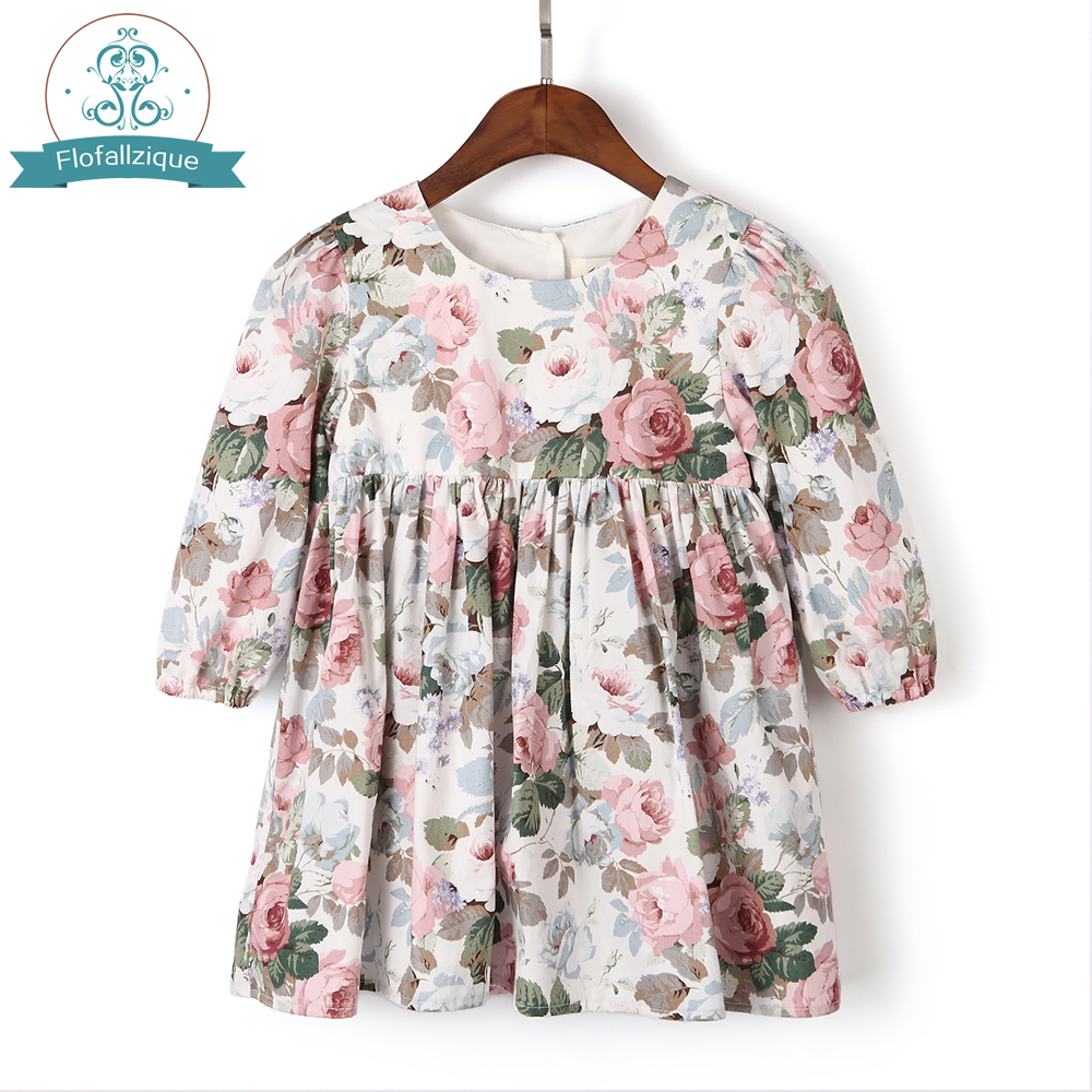 Flofallzique Girl Winter Dress 2018 Autumn Cotton Vintage Rose Floral Print Long Sleeve Kids Dresses For Girl Toddler Clothes