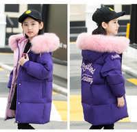 2019 Winter Girls Wave Warm Duck Down Jackets Children Outdoor Hooded Windproof Coats Kids Long Causal Jacket With Pocket -30