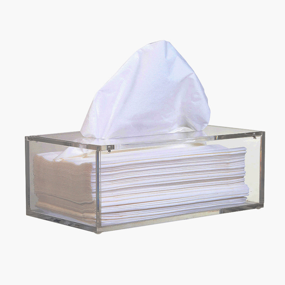 Facial Akryl Tissue Box, Tissue Holder, Vev dispenser med magnetisk deksel
