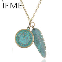 IF ME Steampunk jewellery Personality Maxi Necklace Retro Bronze Clock And Leaves Model Necklaces & Pendant Jewelry For Women(China)