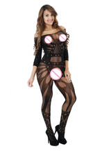 GOYHOZMI Sexy Costumes Sexy Lingerie intimates Sex products Hot Baby Dolls black Jacquard Underwear Open Crotch women Teddies