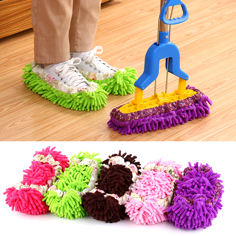 5 Color Chenille Tøfler Genanvendelig Sweep Dust Mop Gulv Rengøring Mop Cleaner Slipper Vaskbar Mopping Duster Sko