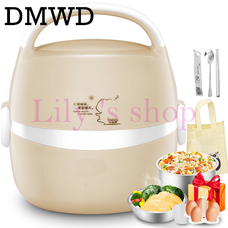 DMWD MINI Electric insulation heating lunch box stainless steel cooking steamer two 2 layers hot rice cooker food container 1.2L new portable handle electric lunch boxes three layers pluggable insulation heating lunch box hot rice cooker electric container
