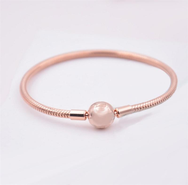 Fit pour les charmes européens Original 925 en argent Sterling moments lisse Bracelet en or Rose bandes de métier à tisser Clip charme bijoux à bricoler soi-même