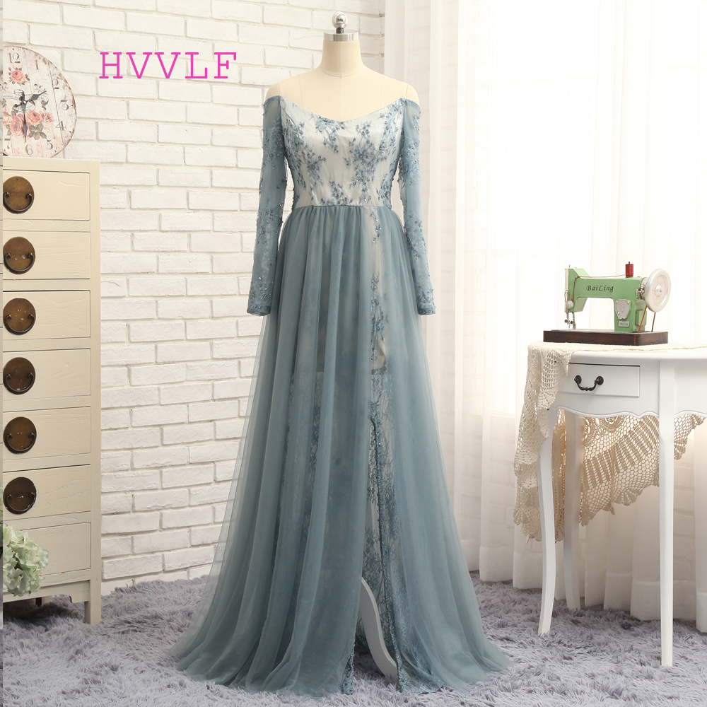 HVVLF Silver 2019   Prom     Dresses   A-line Long Sleeves Tulle Lace Beaded Sexy Slit Long   Prom   Gown Evening   Dresses   Evening Gown