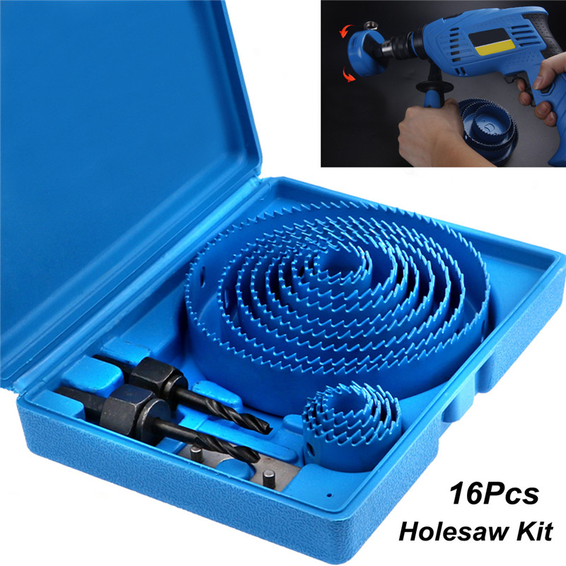 16pcs/Set Carbon Steel Holesaw Set Circle Wood Round Cutter Hole Saw Drill Bits 19-127mm Tool Kit Hole Saw Set Metal Hole Set
