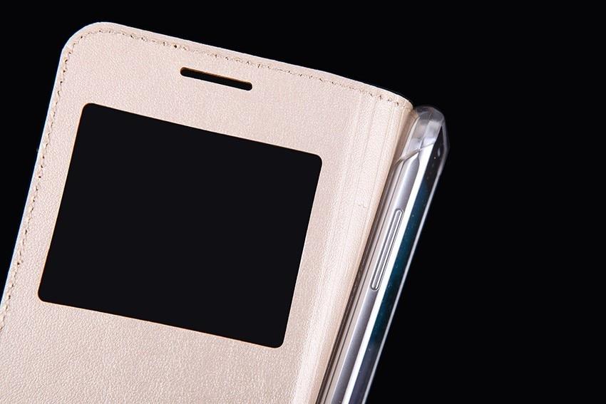 Slim View Window Phone Case Flip Leather Cover Holster Mask För - Reservdelar och tillbehör för mobiltelefoner - Foto 4