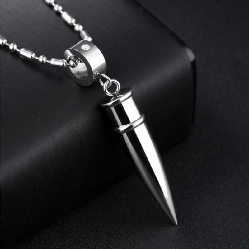 2017 Fashion Men's Stainless Steel Bullet Pendant Link Chain Necklace For Men Jewelry Accessories Statement Necklaces