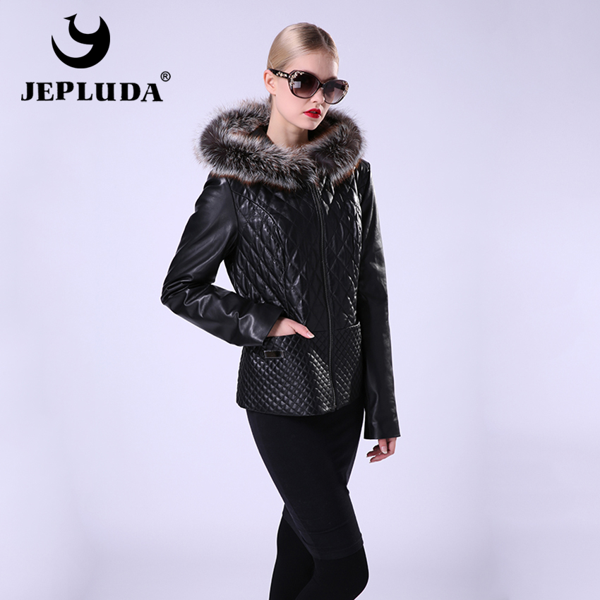 JEPLUDA New Real Leather Jacket Women Zipper Jacket Genuine Leather With Hooded Silver Fox Detachable Short Leather Coat Women