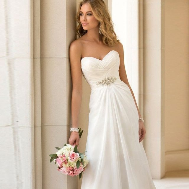 In Stock White Cheap Simple Sexy Beach Wedding Dress 2017 Elegant