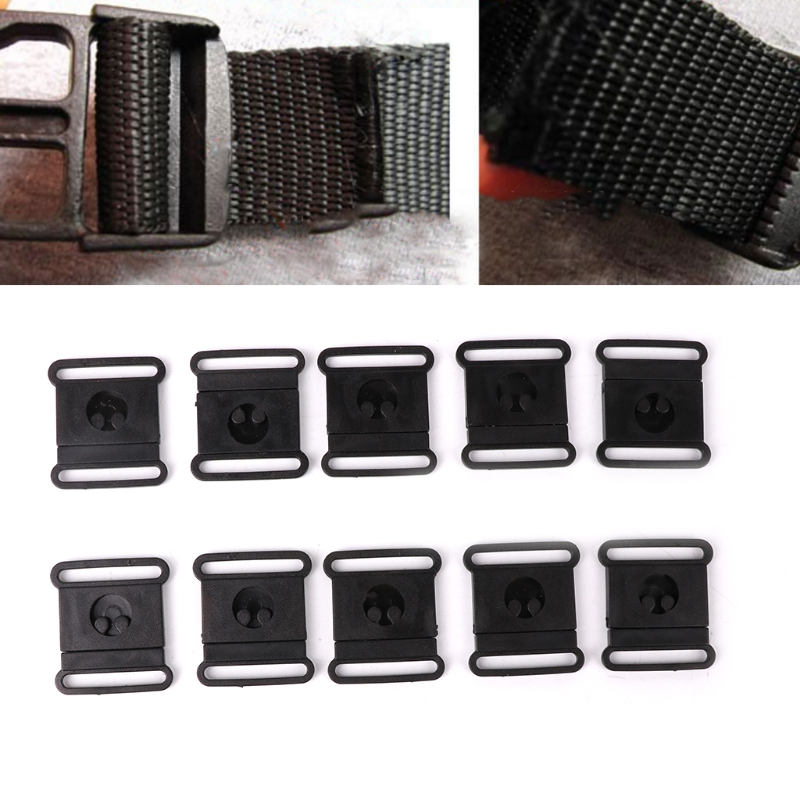 20pcs 15/20/25mm Outdoor Plastic Belts Strap Side Quick Release Buckle Black Width