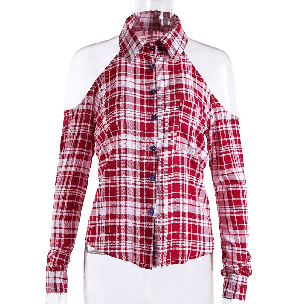 Red Plaid Shirt Women Tops Cotton Checked Blouses Lapel -4583