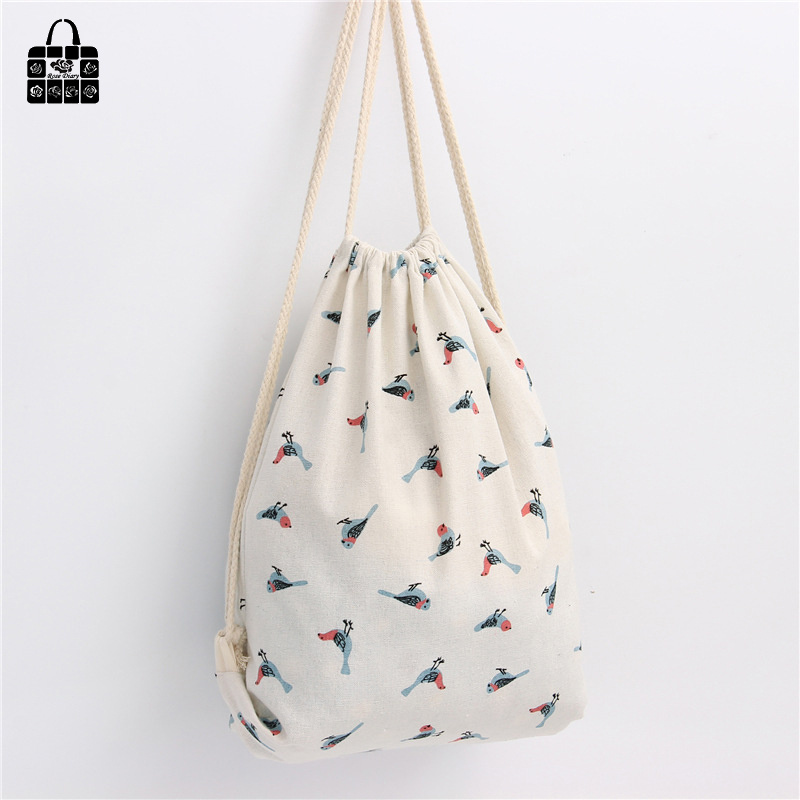 Rosediary Sparrow Printed 100%cotton Canvas Backpack Women Girl Harajuku Drawstring Storage Bag Large Capacity Children Backpack