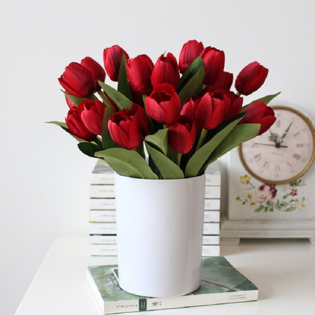 DIY Flowers Wedding Decoration Flower 9 Head Flores Artificial Plants Tulip  Single Bunch Of Living Room
