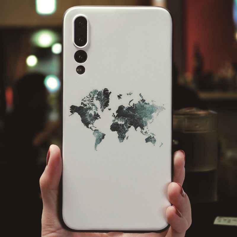 MaiYaCa الوردي العالم خريطة الأسود لينة قذيفة الهاتف غطاء ل فون 7 8 Xr XS ماكس حافظة لهاتف huawei P9 P10 P20 P20pro honor 9 10 V9 V10