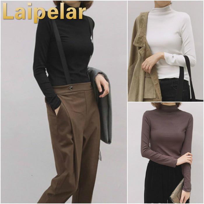 Laipelar Woman Basic Shirts Spring Autumn Solid  Casual Long-Sleeve SlimT-Shirt Cashmere Pullovers Elastic Top For