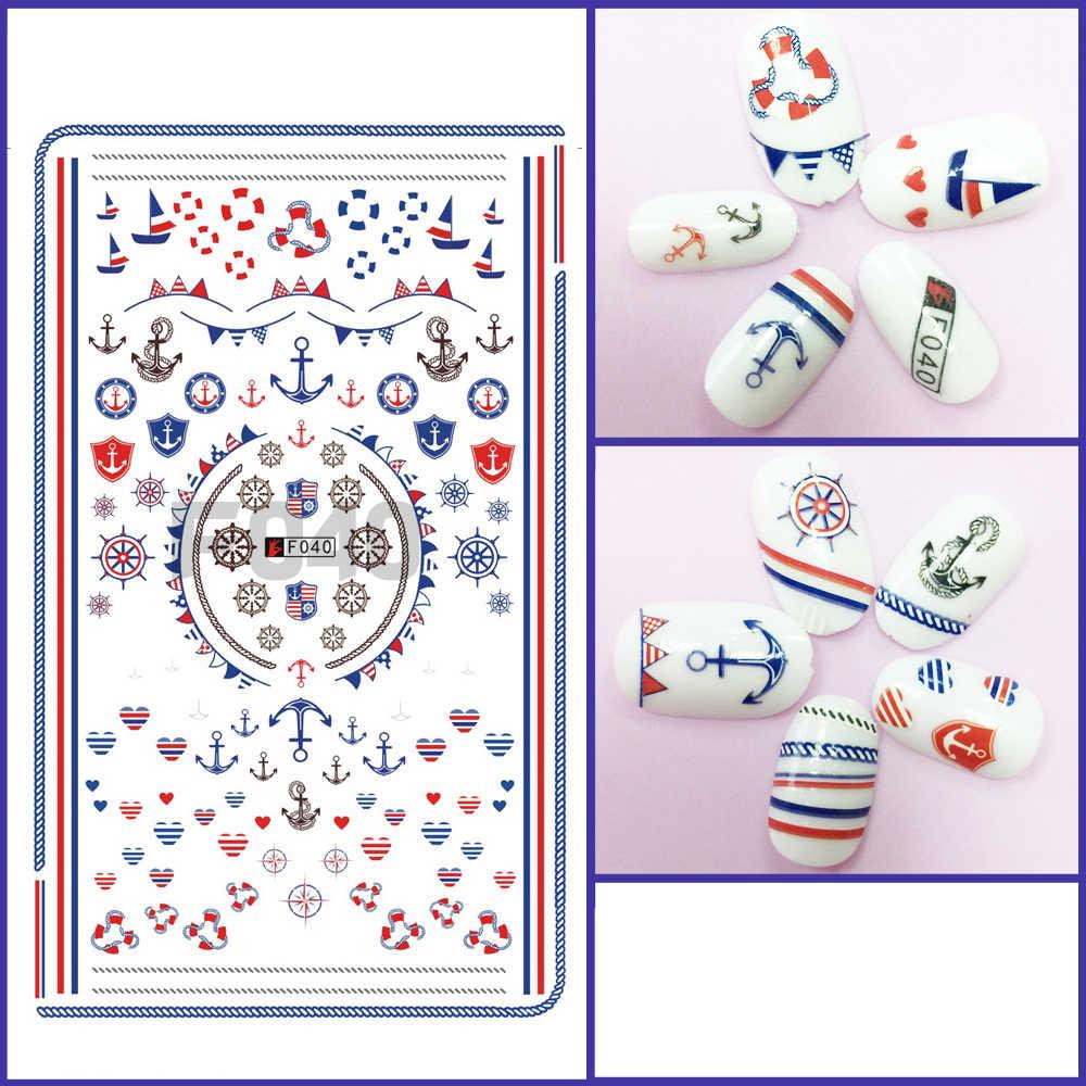 1 шт. 3D супер тонкий накладки-наклейки на ногти клей для накладных ногтей декоративные наклейки для маникюра военно морского флота с принтом лодочного якоря; обертывания F040