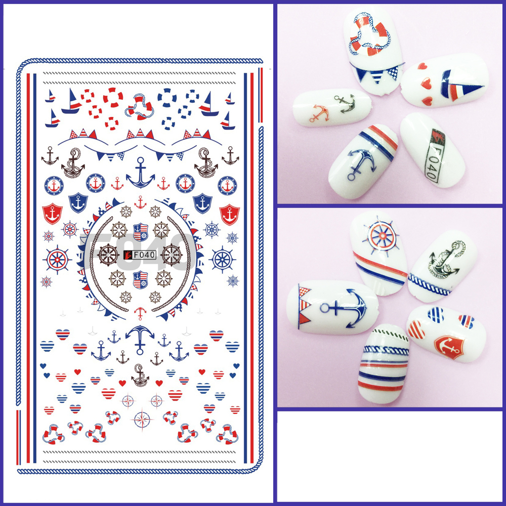 1pcs 3D Super Thin Nail Stickers Tips Nail Art Adhesive Decals Manicure Decoration Navy Sea Boat Anchor Wraps F040 1pcs water nail art transfer nail sticker water decals beauty flowers nail design manicure stickers for nails decorations tools