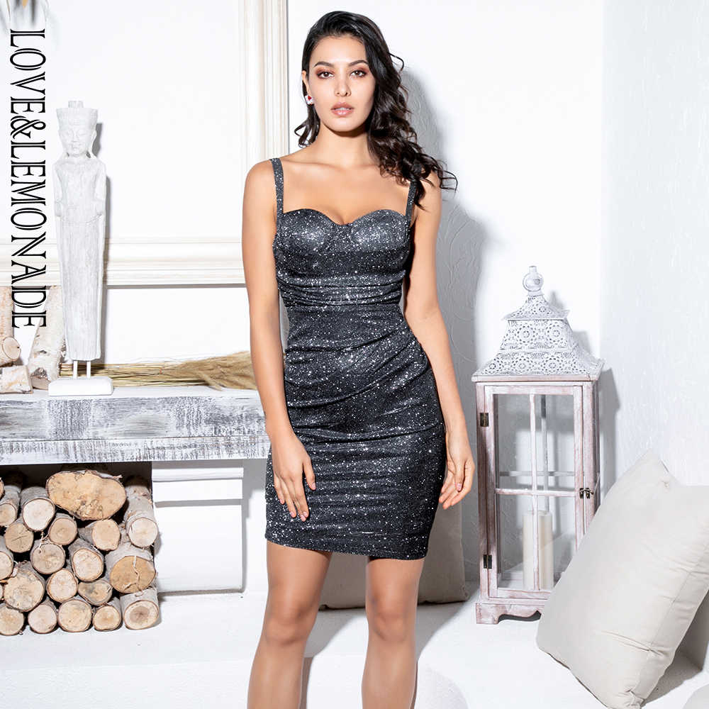 Liefde & Limonade Zwarte Strapless Sling Geplooide Decoratie Giltter Stof Bodycon Party Dress LM81783