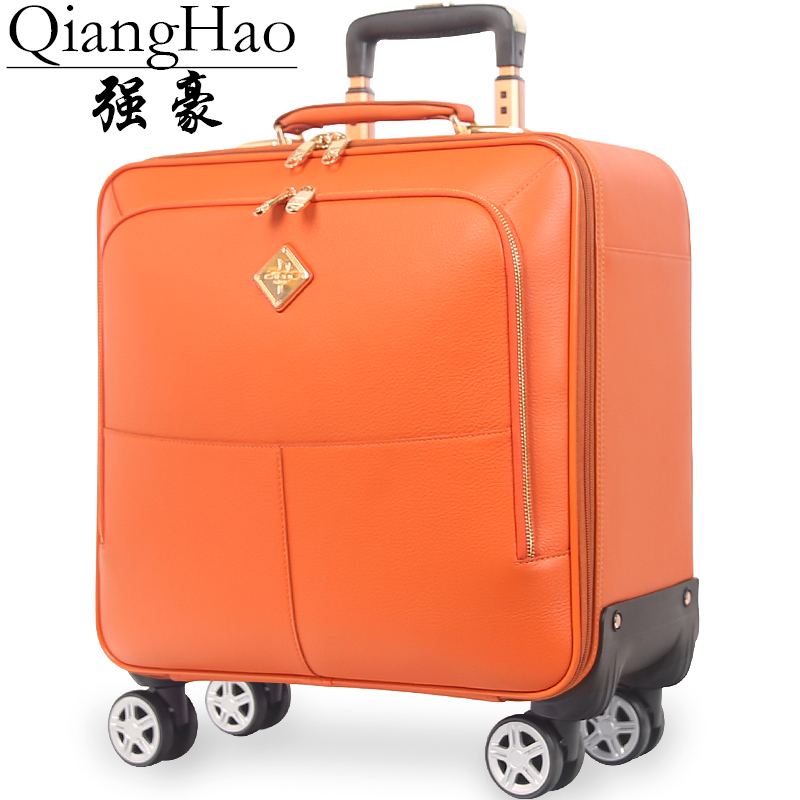 QiangHao brand 16 20 inch men 100 Genuine cow leather vintage carry on suitcase hand luggage