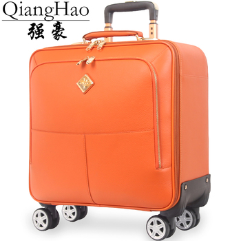 QiangHao brand 16″ 20″ inch men 100% Genuine cow leather vintage carry on suitcase hand luggage cabin travel bags on wheel -in Rolling Luggage from Luggage & Bags on Aliexpress.com | Alibaba Group