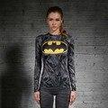 Mujeres Camiseta Del Cuerpo Armadura Marvel traje de superman/batman Camiseta Chica Manga Larga Gimnasio Medias de Compresión camisetas