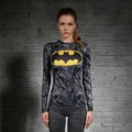 Women T-shirt Bodys Armour Marvel costume superman/batman T Shirt Long Sleeve Girl Fitness Tights Compression tshirts