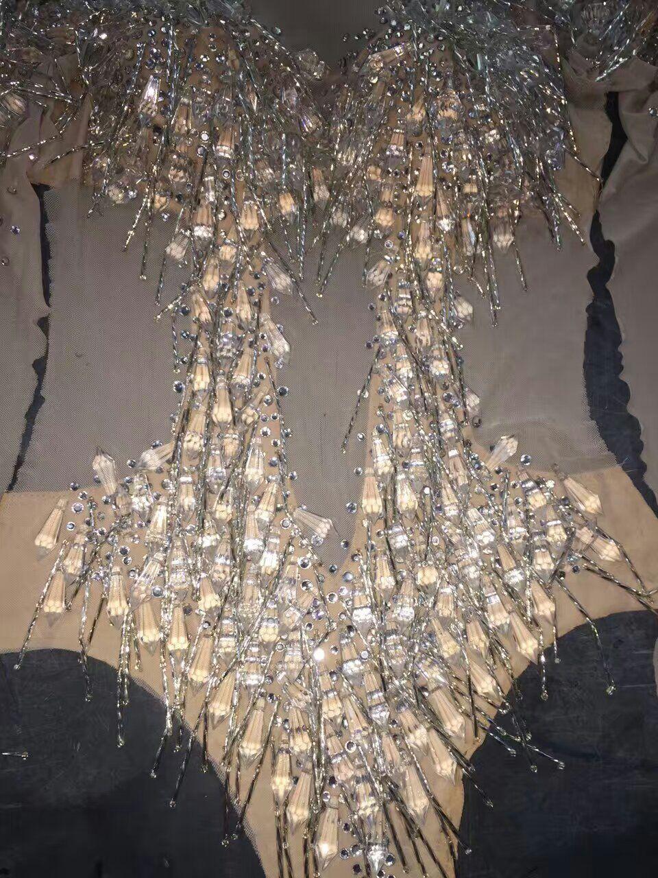 De Verre Costume Long Gland Sexy Usage Prom short Discothèque Vêtements Couleur Barboteuses Party Strass Chanteuse Peau D'étape La Outfit qXWHHRn0T