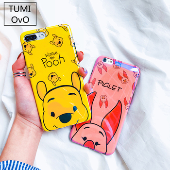 Cartoon Mirror Gradient Blue Light Solf Silicone Cover Winnie Pooh Pink Pig Pattern Phone Case For iPhone 6 6s 7 8 Plus X Capa winnie the pooh iphone case