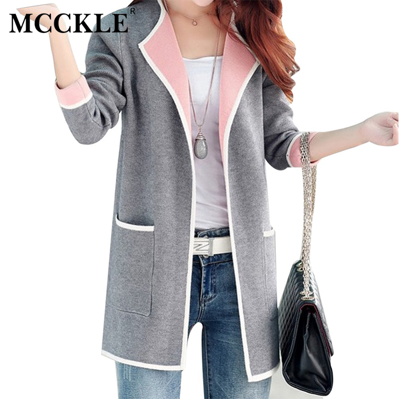 MCCKLE 2017 Women New Autumn All match Patchwork Full sleeve Slim Pocket Knitted Cardigan Ladies Plus