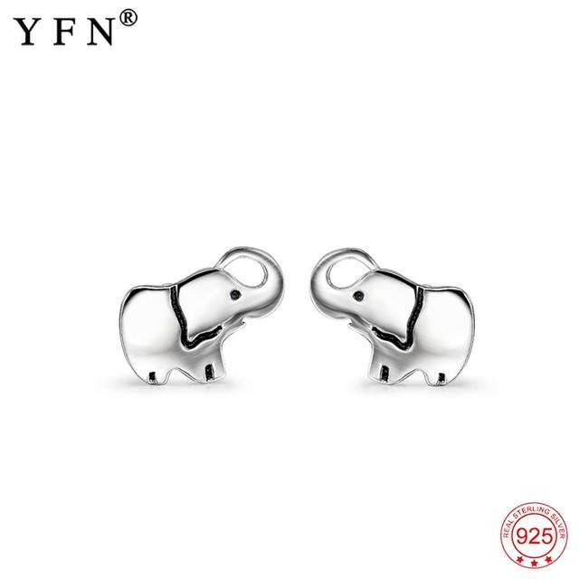 eace3e938b41 YFN Genuino 925 Plata Esterlina Suerte Elefante Pendiente Arete de las  Mujeres Niñas Precioso Animal Pendiente