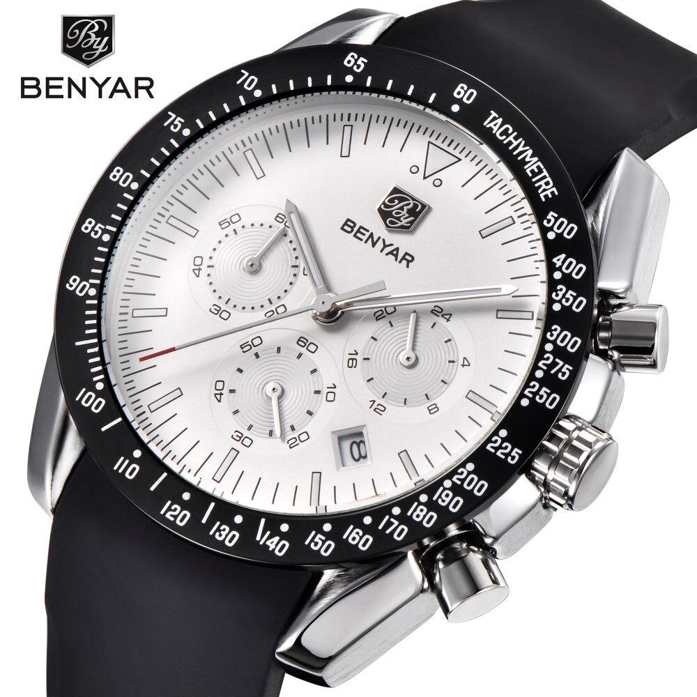 купить BENYAR Top Brand Luxury Men Watch Silicone Strap Waterproof Sport Quartz Chronograph Military Watch Mens Clock Relogio Masculino по цене 1648.72 рублей