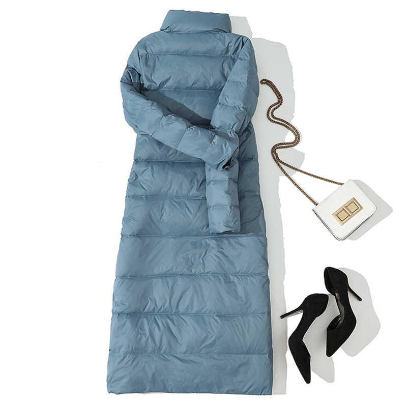 Зимняя женская Двусторонняя куртка-пуховик 90% белые пуховые пальто-парки женские повседневные модные длинные пуховые пальто Верхняя одежда YP2123
