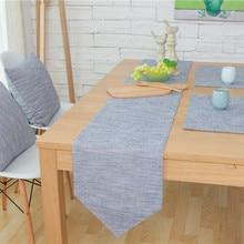 Camino de mesa de algodón de lino de Color puro para Decoración de mesa de boda Vintage suministros para eventos y fiestas tafelloper bruiloft