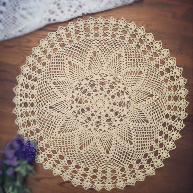 yazi Handmade Round Table Placemat Cotton Hollow Floral Doily Pads ...
