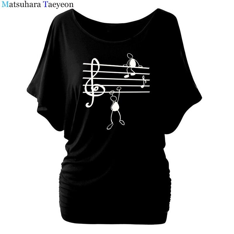 Music Notes Funny Printed T Shirt Women Summer Animal Short Sleeve Tshirts Harajuku T-Shirt Girl Casual Tops t shirt Brand