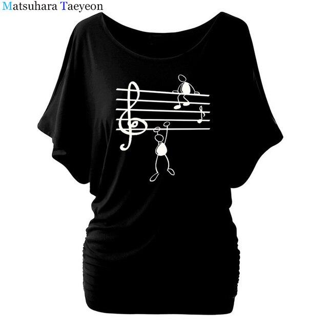Music Notes Funny Printed T Shirt Women Summer Animal Short Sleeve Tshirts Harajuku T-Shirt Girl Casual Tops t shirt Brand 5